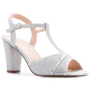 Olivia Rhinestone & Glitter Chunk Heel Sandals